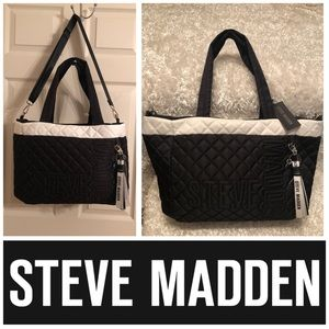 Steve Madden XL BLK/WHT BMASON Nylon Quilted Tote